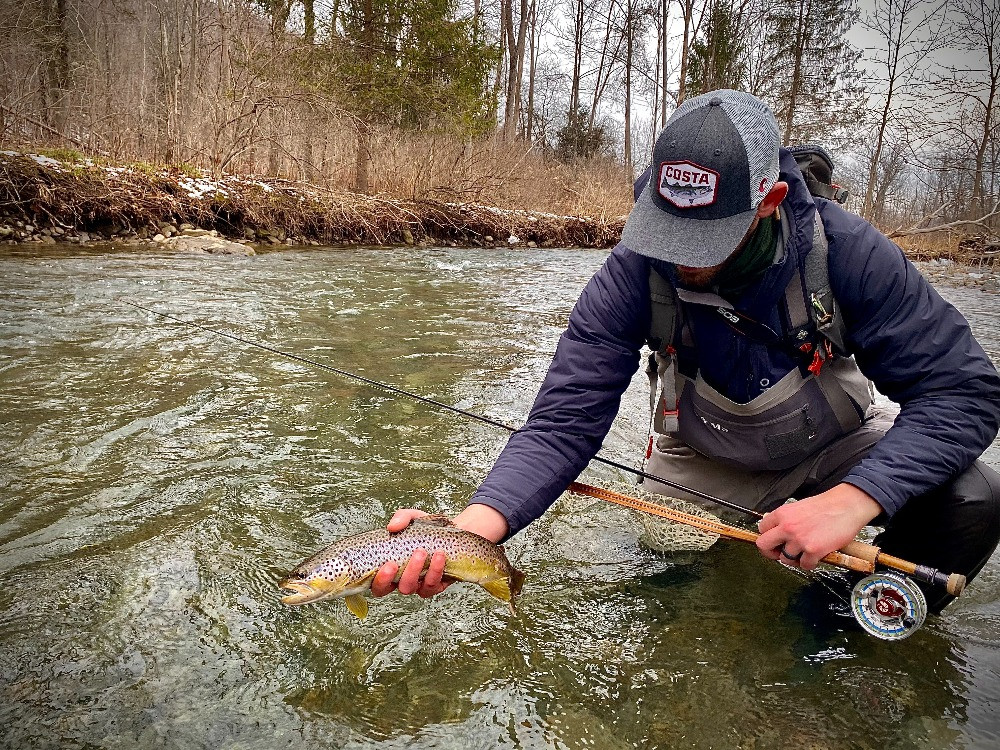 fly fishing for brown trout in the winter in Central NY