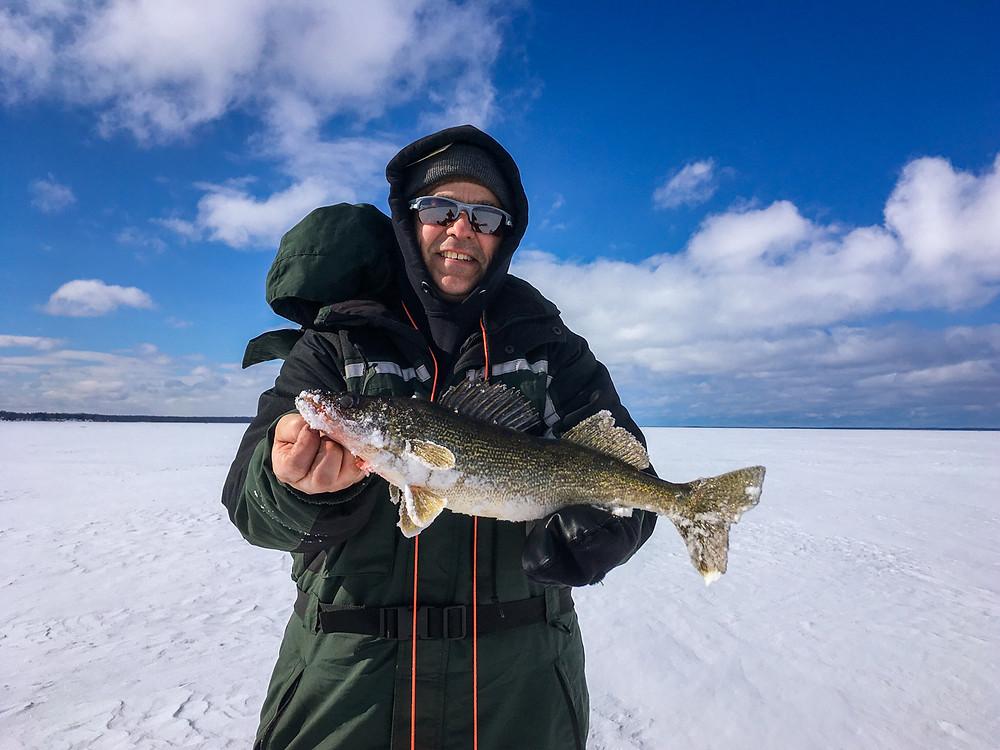 a great walleye caught ice fishing on Oneida Lake