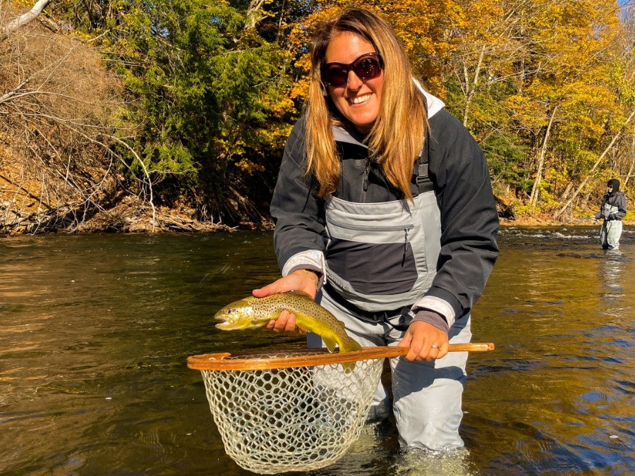 Robin with her first brown trout on the fly!