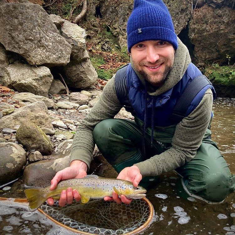 A nice, wild brown trout caught fly fishing in Central NY