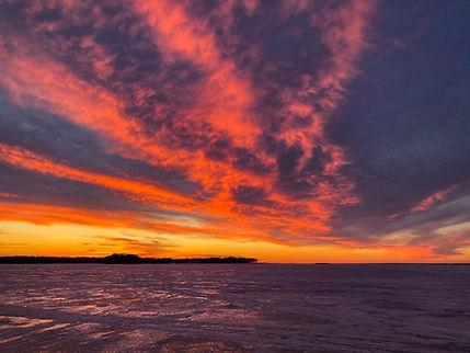 Oneida Lake sunset ice fishing in Upstate NY
