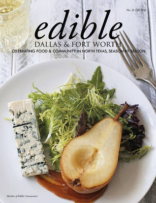 poached pear with caramel and frisse with champagne vinaigrette | edible magazine