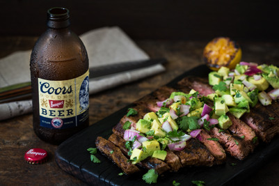 """grilled flank steak with avocado and charred lemon """"salsa"""" 