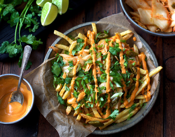 kimchi fries | pints and plates