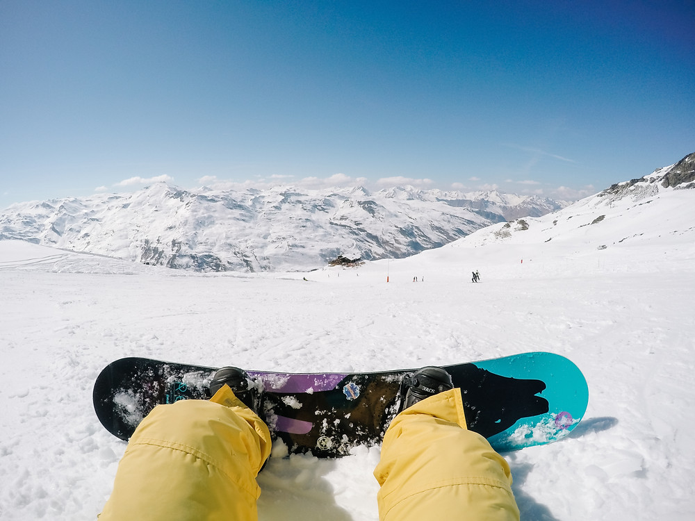 mountain view with a snowboard