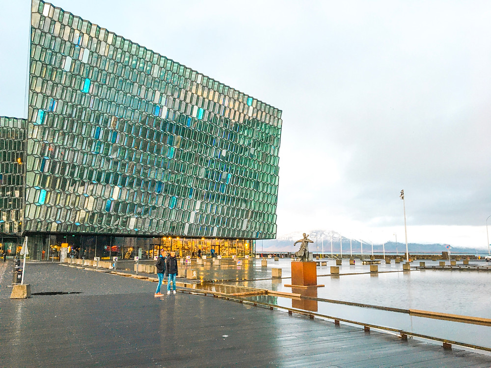 contemporary building of a concert hall - Harpa in Reykjavik