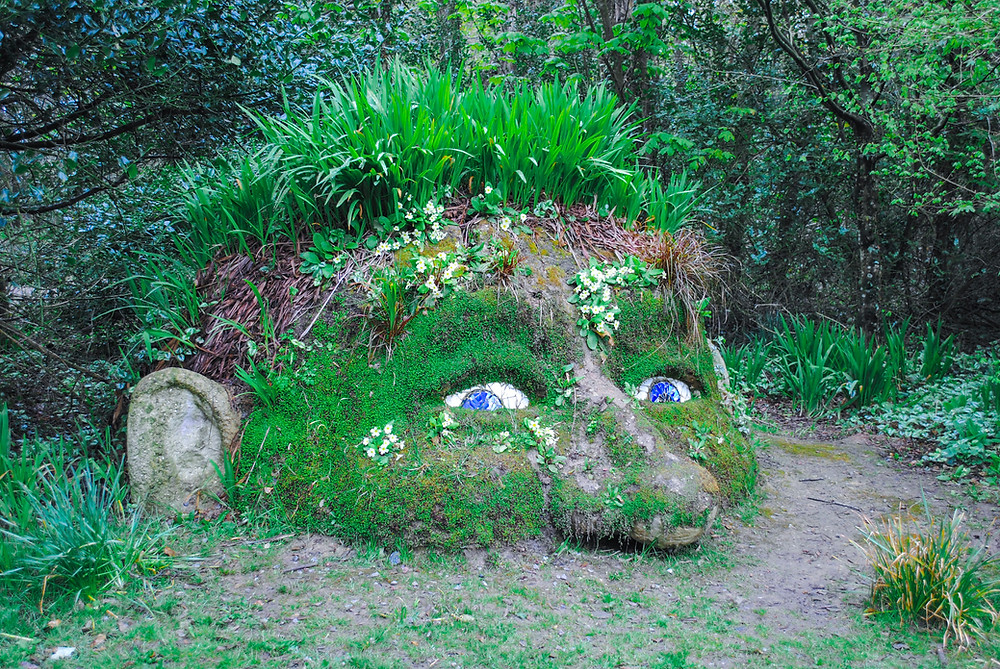 Lost garden of Heligan - face covered with grass