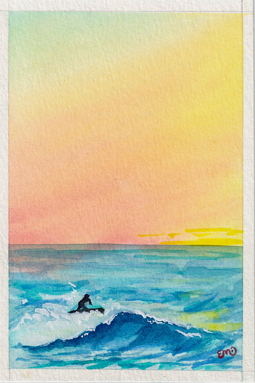 Surfer Sunset Watercolor Print