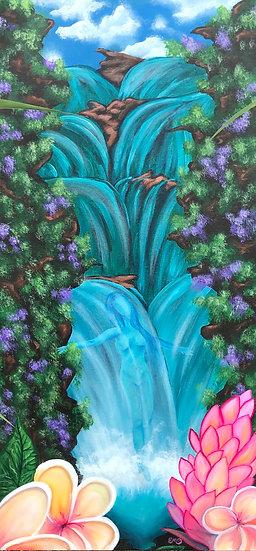 Hawaiian Waterfall Goddess Plumeria Flower Acrylic Painting Print