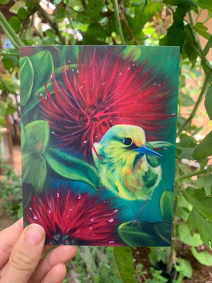 Harmony Bird and Flower Greeting Card