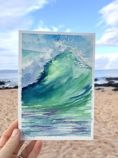 Original Teal Ocean Wave Tropical Watercolor Painting