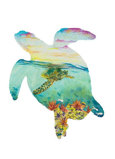 Turtle Silhouette Maui Underwater Ocean Watercolor Painting Print