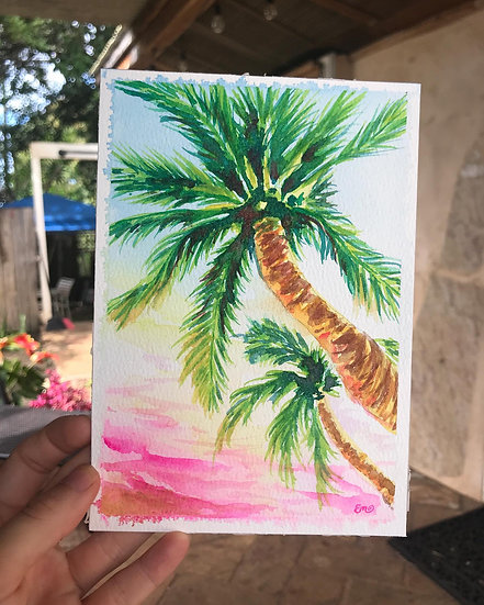 Original Pink Sunset and Palm Tree Watercolor Painting