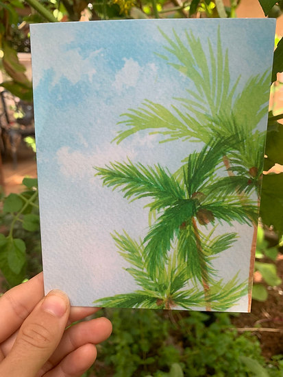 Three Green Palms Greeting Card