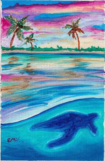 Turtle Sunset Oil Print