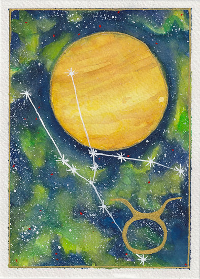 Taurus Watercolor Painting