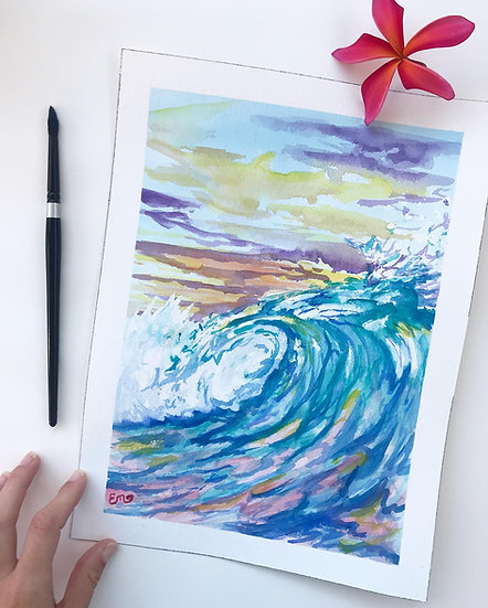 Original Abstract Wave Watercolor Painting