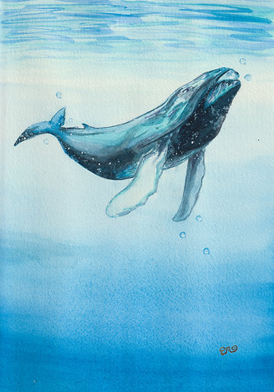Lone Whale Watercolor Painting Print