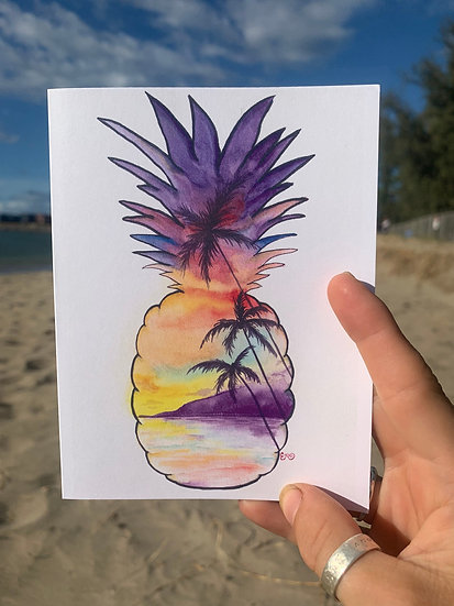 Pineapple Silhouette Greeting Card