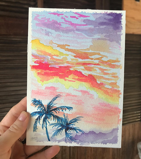 Original Palm Tree Sunset Watercolor Painting