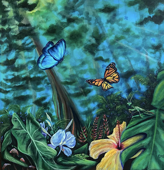 Jungle Dreams Original Acrylic Monarch Butterfly and Flowers in Tropical Hawaiia