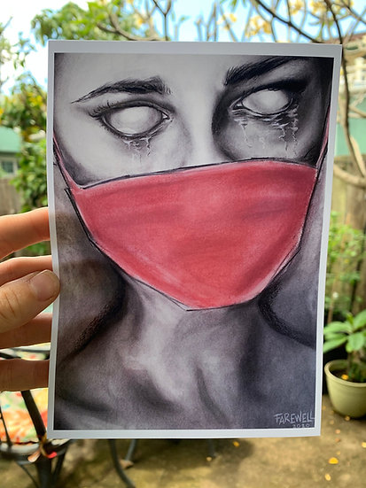 Covid-19 Political Art Sad Girl Crying with a Red Face Mask Charcoal Drawing Pri