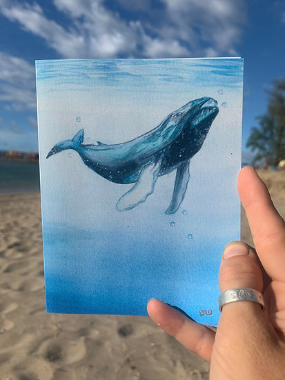 Lone Whale Greeting Card