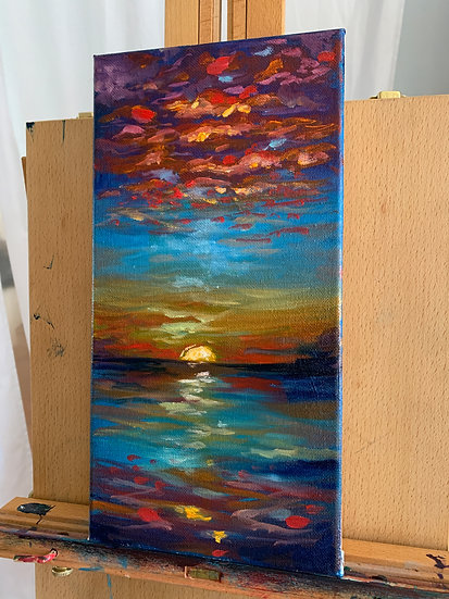 Bold Red and Blue Sunset Oil Painting