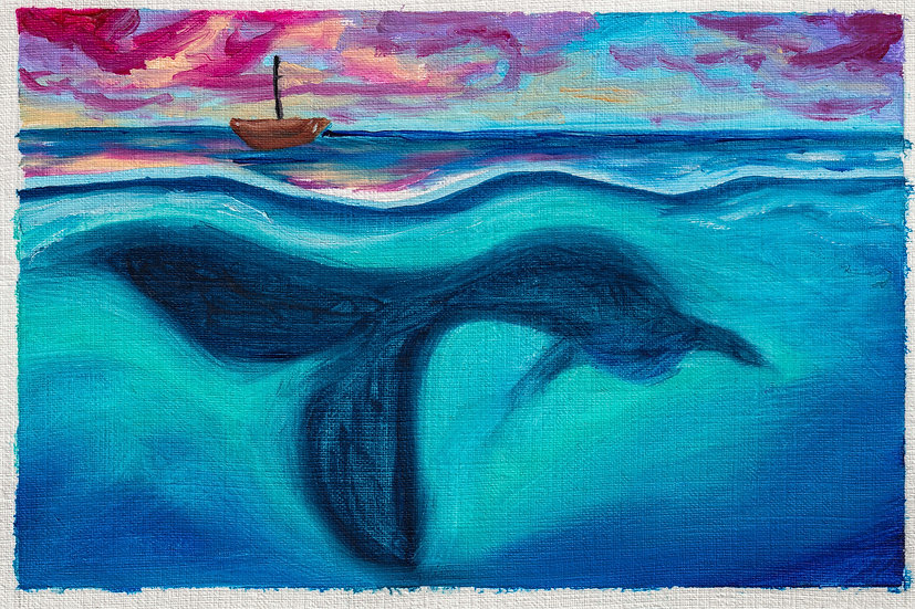 Whale Tale Oil Painting Print