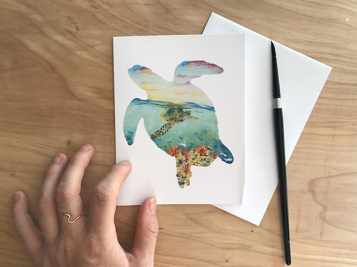 Turtle Silhouette Greeting Card