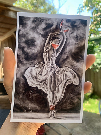 Ballerina Dancing With Red Mask and Gloves Charcoal Drawing Print