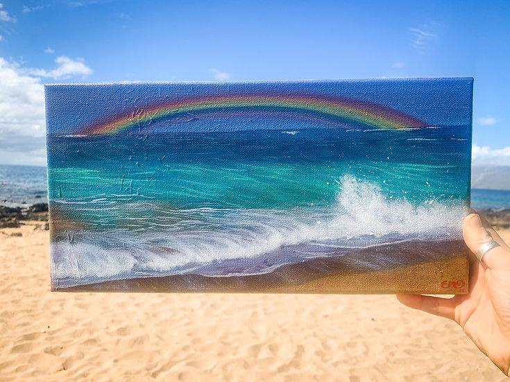 Rainbow over Ocean Wave crashing on beach in Paia, Maui, Hawaii. Original acryli