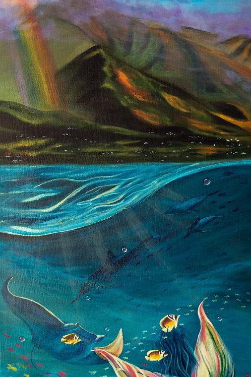 Mermaid Tale Hawaii Ocean Acrylic Painting Print