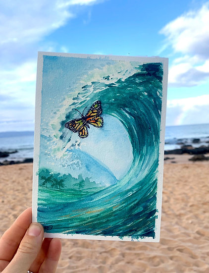 Butterfly and Blue Wave Maui Hawaii Tropical Ocean Original Watercolor Painting