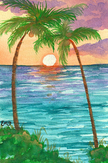 Visions of Paradise Watercolor Tropical Ocean with Palm Trees and Sunshine Sunse