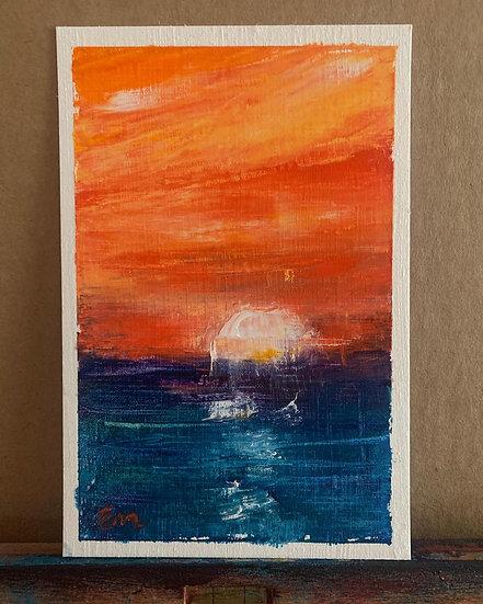 Orange Over Blue Oil Painting