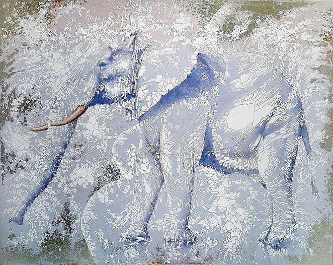 Elefante blanco.(162x130cm.)acrlico,pan