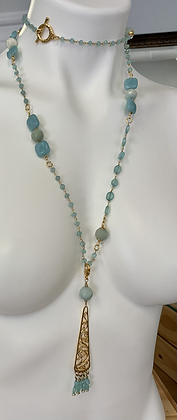 Chalcedony long necklace with detachable vintage pendant