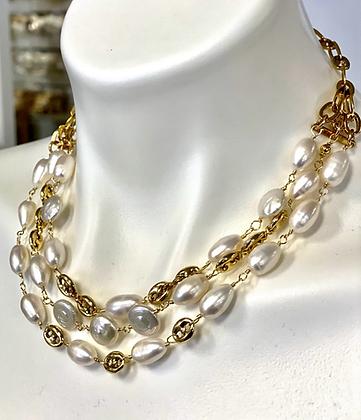 Triple strand Pearls and Gucci like chain