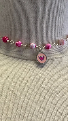 Pink crazy agate with heart charm