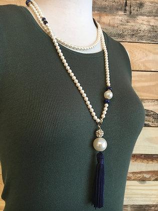 Long Swarovski Glass Pearl Tassel