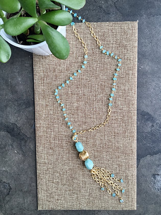 Chalcedony Rondelles and Textured Chain Necklace