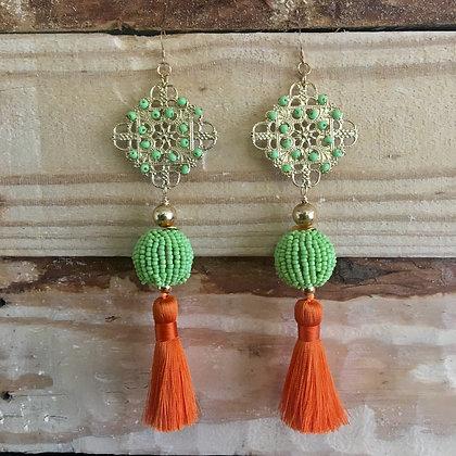 Tassel Earrings, Green/Orange Chandelier Earrings
