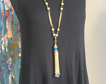 Blue Agate tassel with filigree chain