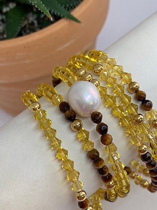 Bracelet set of Crystal and Tiger eye stretch easy to wear