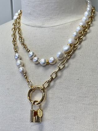 Pearls with Chain and Lock