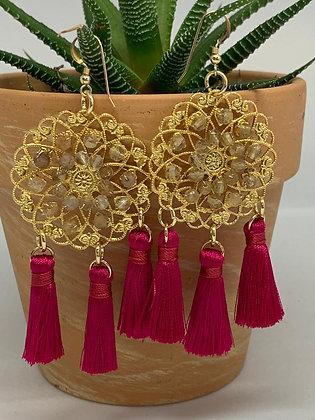 Statement Chandelier Earrings w/ Red Tassel