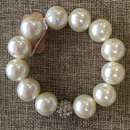 Faux Pearl with Crystal Pave Insert Expandable