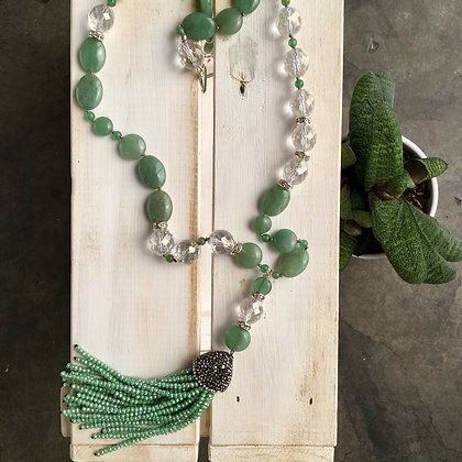 Aventurine and Glass, Bead Tassel Necklace