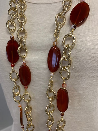 NYC Chain Collection with Carnelian Gemstones